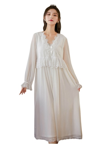 LYCKA white LML1312-Lady One Piece Long Sleeve Lace Sleepwear-White 61BF5AA8BB850BGS_1