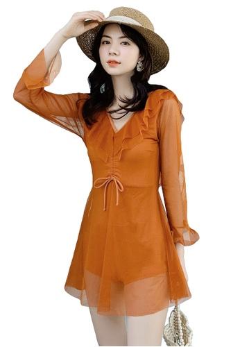A-IN GIRLS orange Sexy Gauze Big Backless One-Piece Swimsuit 764C4US8F9BCC4GS_1