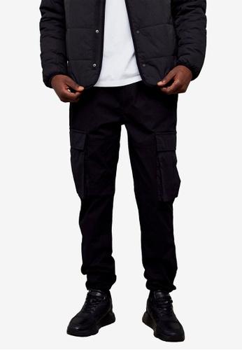 Topman black Black Belted Cargo Trousers 829BBAADFB3AF6GS_1