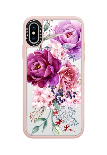 Casetify pink and multi Purple Peony Watercolour Classic Grip Case For Phone XS - Pink 800C0ACE259B87GS_1