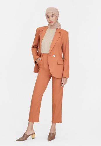 Pomelo orange Tailored Cigarette Pants - Orange FAF7BAAEFB536BGS_1