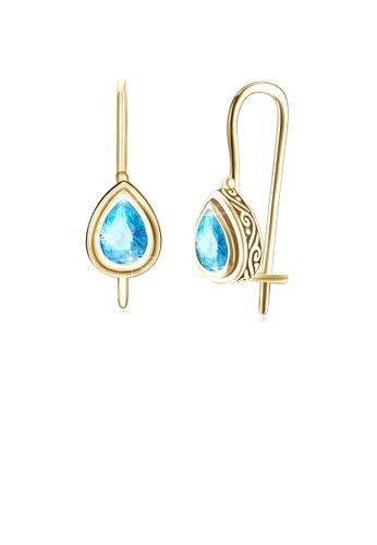 Glamorousky blue 925 Sterling Gold Plated Retro Elegant Fashion Water Drop Shape Earrings with Light Blue Cubic Zircon 575DBACF2FD1DEGS_1