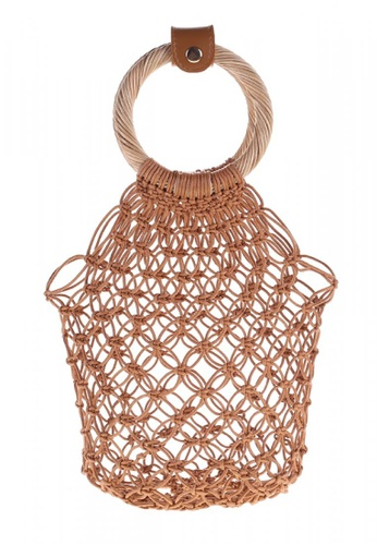 Style Cat brown and beige Positano Handmade Macrame Bag with Wooden Handles 300E0AC70FB2BEGS_1