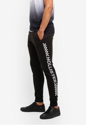 Hollister black Print Logo Skinny Jogger Pants 669E9AAFE76E78GS_1