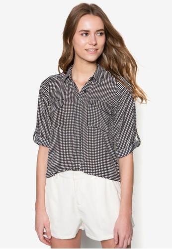 雙口袋點點長袖zalora是哪裡的牌子襯衫, 服飾, 襯衫