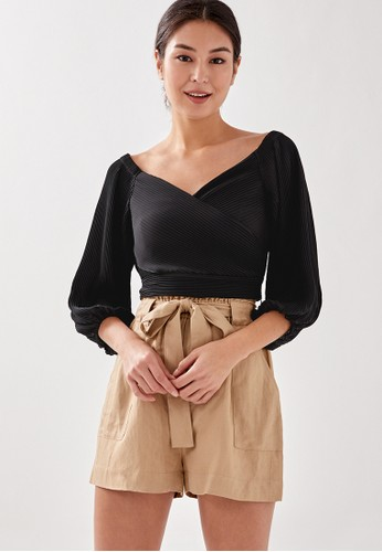 Love, Bonito black Kairah Pleated Off Shoulder Crop Top 0961DAA449B9FCGS_1