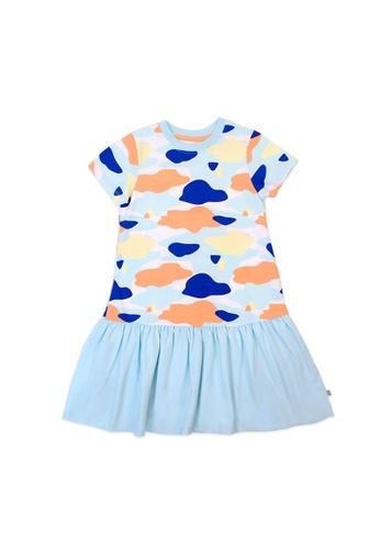 OETEO blue and multi Camo Flash Drop Waist Ruffle Dress (Blue) 0DAFCKA7EE94E7GS_1