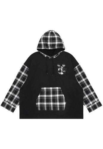 Mini cream black Plaid panelled hoodie C6EF0AAB9E9E30GS_1