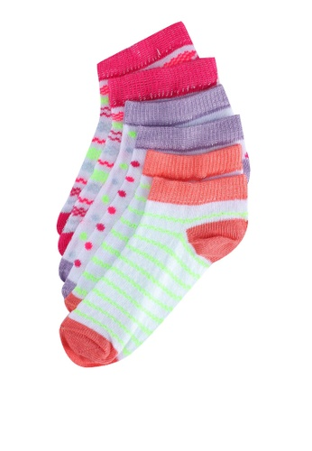 KOTON pink Stripe And Dot Ankle Socks 1ECA7KA5402002GS_1