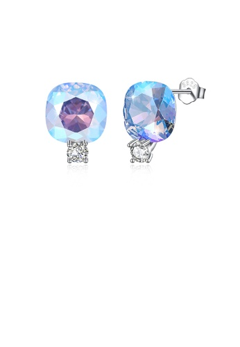 Glamorousky blue 925 Sterling Silver Fashion Simple Geometric Square Stud Earrings with Blue Austrian Element Crystal 8592AACB9A7D0CGS_1