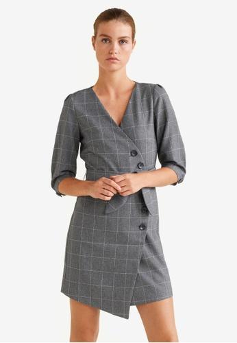 Mango grey Buttoned Check Dress 66907AA0EC8414GS_1