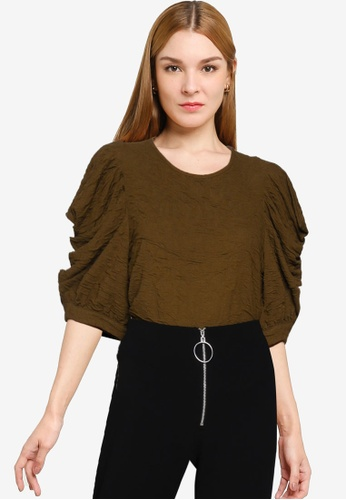 Vero Moda 褐色 Indie Half Sleeves Top B87ACAAE5F76D0GS_1