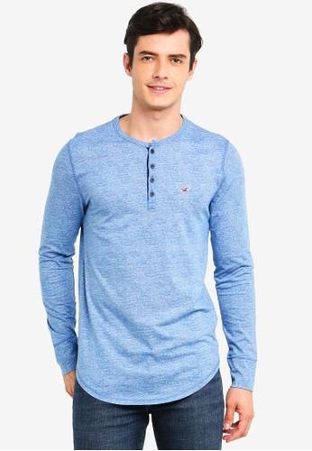 Hollister blue Long Sleeve Jersey Henley Tee 4E97EAAACCFF8DGS_1