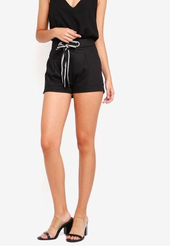 ZALORA black Tie Front Shorts 206EDAAD6006D3GS_1