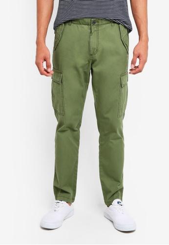United Colors of Benetton 綠色 素色側口袋工作長褲 66AF3AA4FE5922GS_1