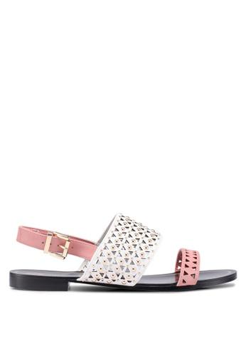 River Island pink Pink Cream Black Flat Sandal DECE0SH184B656GS_1