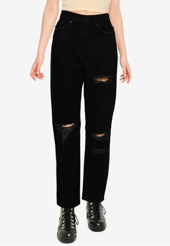 Public Desire black Ripped Mom Jeans 59C79AAB8409D0GS_1