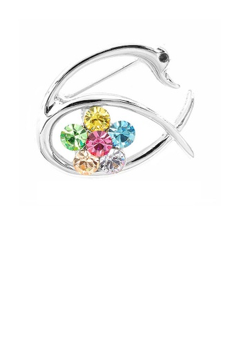 Glamorousky multi Swan and Flower Brooch with Multi-color Austrian Element Crystals 23772AC8F8A78BGS_1