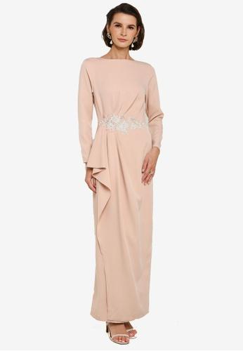 Zalia 米褐色 Side Drape Dress With Lace 6709FAADC6D76BGS_1