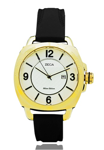ZECA black Zeca Watches Ladies Fashion Rubber Analog - 1006L Black Gold 43201ACD962767GS_1