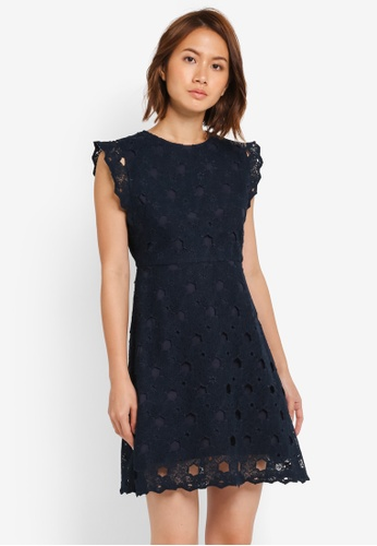 ZALORA navy Fit & Flare Dress with Broderie Detail 806CEAA482C4ABGS_1