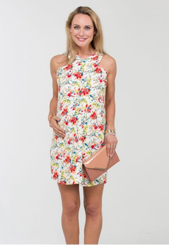 spring maternity woven sleeveless bobbie overlapping dress white multi