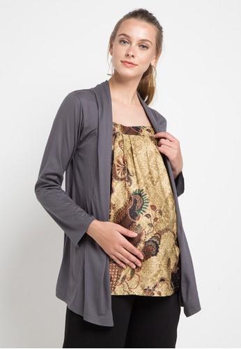 Blouse Lengan Panjang Batik Coklat Rompy Abu