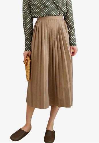Shopsfashion beige Pleated Midi Skirt C1E6AAABE2BC04GS_1