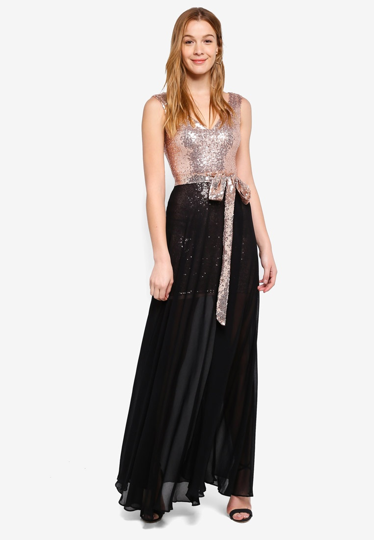 Chiffon And 2 Sequin Goddiva Black In 1 Dress qyyRO8H1