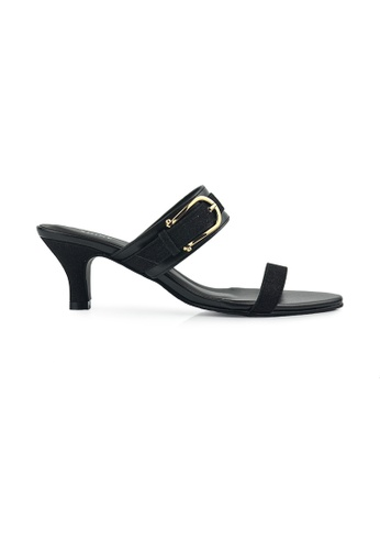 SHINE black Slip On Buckle Mule Heels SH554SH0FVEESG_1
