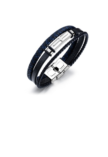 Glamorousky silver Fashion Classic 316L Stainless Steel Cross Geometry Multilayer Leather Bracelet 84AE4AC299A2EAGS_1
