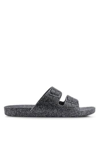 ec20e25f0f38a7 Shop Freedom Moses Glitters Black Sandals Online on ZALORA Philippines