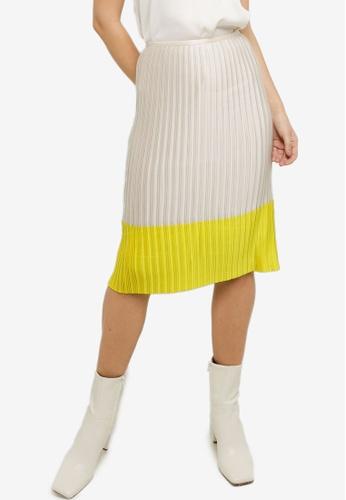 CK CALVIN KLEIN beige Lightweight Charmeuse Pleated Skirt 5FFDAAA46C7F01GS_1