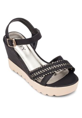 編zalora開箱織交叉寬帶楔形涼鞋, 女鞋, 楔形涼鞋
