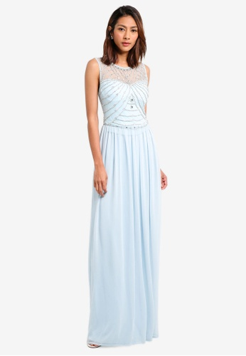 Goddiva blue Embellished Chiffon Maxi Dress B1EB2AA7D52B0CGS_1