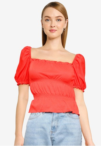 Miss Selfridge red Red Shirred Fochette Top 222EFAA29BD7AEGS_1