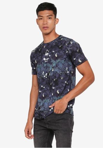 Just Hype multi Grey Leaves T-Shirt DA69DAAC3A9F14GS_1
