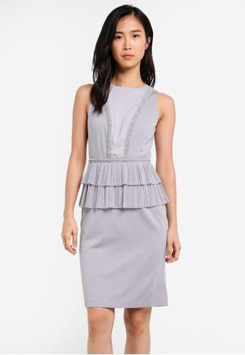 ZALORA grey Studio Peplum Frill Dress 93908AA8749313GS_1