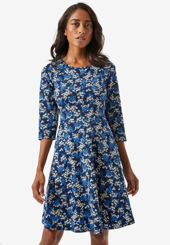 Dorothy Perkins navy Petite Ditsy Print Fit & Flare Dress A5D62AA0C91E14GS_1