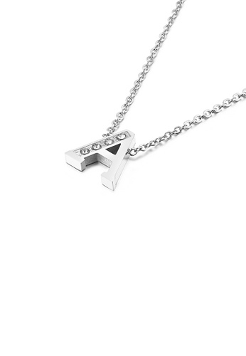 Glamorousky white Fashion Personality English Alphabet A 316L Stainless Steel Pendant with Cubic Zirconia and Necklace 8C30DACB0E62ABGS_1