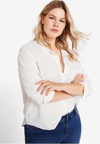 Violeta by MANGO white Plus Size Chest-Pocket Cotton Shirt D658FAA22C38B3GS_1