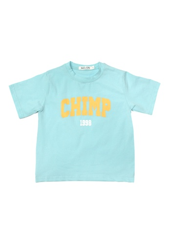 MELON yellow and blue COTTON STATEMENT TEE, CERULEAN BLUE 45F42KA611ED00GS_1