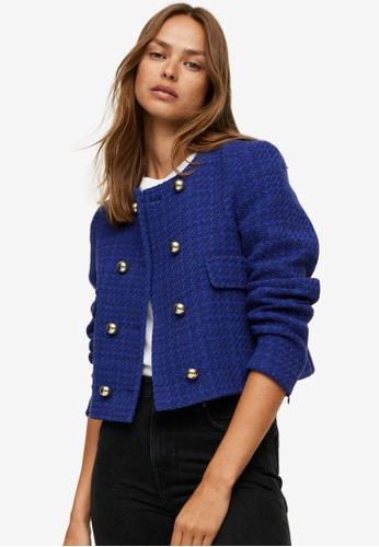 Mango blue Crop Tweed Jacket A15A0AA697A8ABGS_1