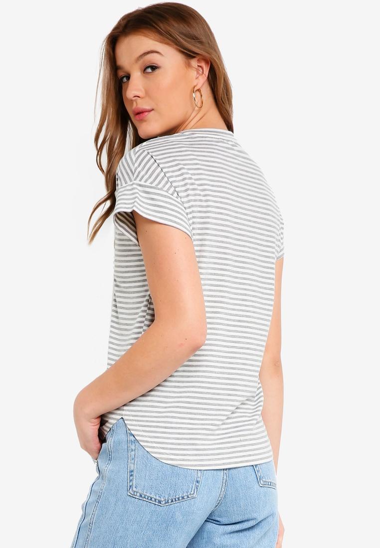c8d6f40984498 ... White Basic Top pack 2 Stripe BASICS Grey V White Stripe Black Neck  ZALORA 8qagAw ...