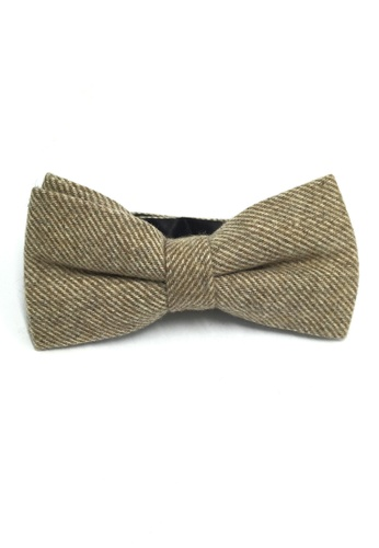 Splice Cufflinks Dolly Series Light Brown Patterned Wool Pre-tied Bow Tie SP744AC38QSBSG_1