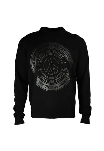 Moschino black Moschino Logo Print Sweater in Black 5AA84AAF216DC1GS_1
