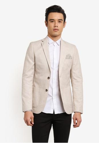 Burton Menswear London 米褐色 淺褐色 亞麻 Blend 西裝外套 BU964AA0RH8WMY_1