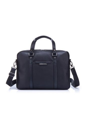 "ENZODESIGN black ENZODESIGN Cow Soft Napa Leather 15"" Macbook Slim Briefcase EN880AC65LFYHK_1"