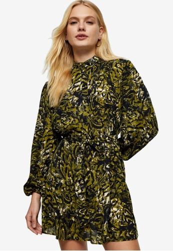 TOPSHOP green Printed Frill Shirt Dress B20BAAA0945C1AGS_1