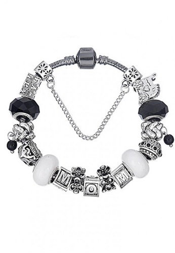 LOVENGIFTS black and grey and silver LOVENGIFTS Mom And Baby Memory Beaded Bracelet LO429AC88JPRMY_1